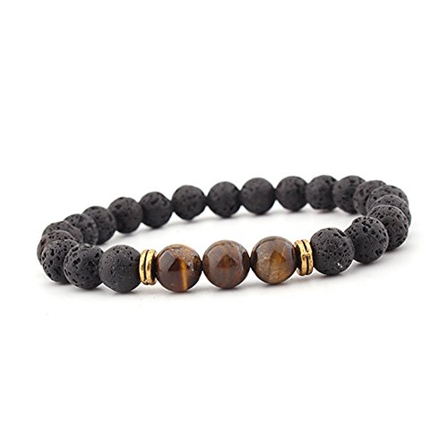Celokiy Lava Rock Beaded Stone Stretch Bracelet with Tiger Eye Oil Diffuser for Men Women - meditation,relax,healing,aromatherapy