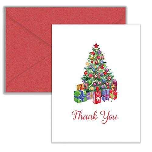 Paper Frenzy Christmas Tree Holiday Thank You Note Cards and Red Envelopes - 25 pack