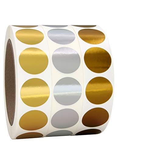 """1"""" Gold, Silver, Bronze Round Color Coding Circle Dot Labels on a Roll, 3000 Stickers, 1000 Stickers per Roll, 1 inch Diameter."""