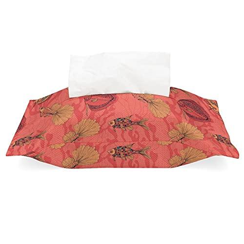 Soporte de caja de pañuelos de lino de algodón, diseño de peces en el fondo de coral extraíble dispensador de pañuelos para oficina, sala de estar, encimera de tocador de baño