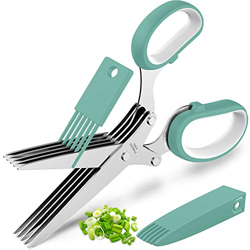Updated 2021 Herb Scissors Set - Cool Kitchen Gadgets for Cutting Fresh Garden Herbs - Herb Cutter Shears with 5 Blades and Cover, Sharp and Anti-rust Stainless Steel, Dishwasher Safe (Blue-White)