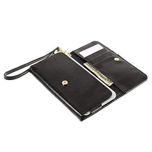 DFVmobile - Etui Tasche Schutzhülle aus Kunstleder Pferden-Leder-Mappen-Kasten mit Kartenfächer für BlackBerry Porsche Design P'9982 - Schwarz