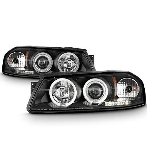 ACANII - For 2000-2005 Chevy Impala LED Halo Black Housing Projector Headlights Headlamps Assembly, Driver & Passenger
