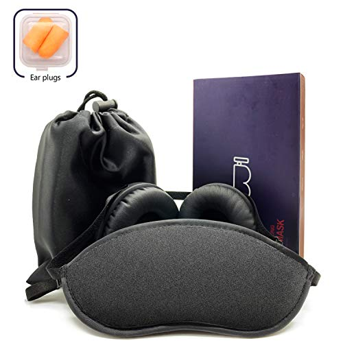 Ear Muffs for Sleeping with Sleep Mask Navy Blue. Soft & Luxurious Mask, Satin Exterior, Removable Ear Cups Reduce Noise by Approx 15-20db Nrr