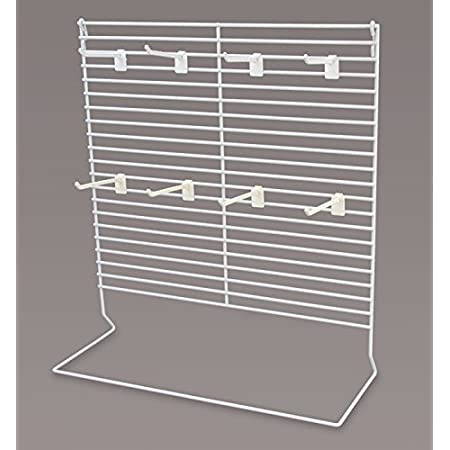 """4/"""" white cardboard counter wire rack display 25 Plastic Snap Snap-On Peg Hooks"""