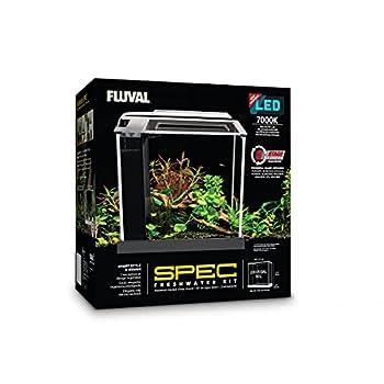 Fluval SPEC Freshwater Aquarium Kit Aquarium with LED Lighting and 3-Stage Filtration 2.6 Gallon Black