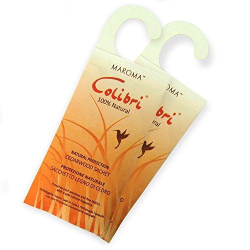 Hangerworld - Lot de 2 sachets Anti Mites à pendre. Ingrédients naturels - Bois de cèdre - Sachet : 22cm x 8cm.