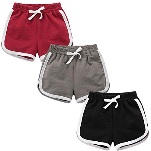 Girls Boys 3 Pack Running Athletic Cotton Shorts, Toddler Workout and Fashion Dolphin Summer Beach Sports 4-5T