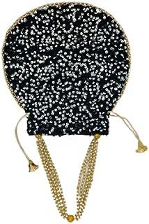 RR Designer Potli Bag Peral Handle and Tassel Ethnic Gold Floral Purse Women's Handbag For Party, Casual