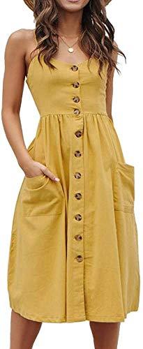 ECHOINE Womens Summer Button Down Casual Swing Plain Solid Midi Dress Pockets Yellow