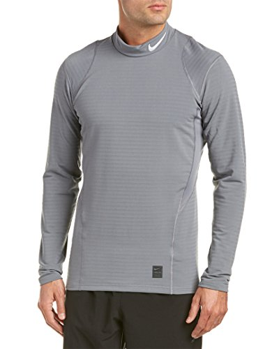 Nike Mens WARM FTTD LS MOCK, COOL GREY/BLACK/WHITE, S