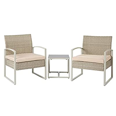 Aoxun 3 Pieces Patio Set Wicker Bistro Table Set, Outdoor Patio Furniture Conversation, Two Rattan Chairs with Glass Coffee Table for Terraces Poolsides and Cafes,Beige