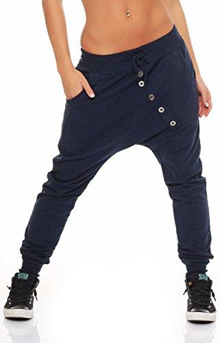 Malito Damen Sweathose in Unifarben | Baggy zum Tanzen | Jogginghose mit Knopfleiste | Sweatpants - Trainingshose 8023 (dunkelblau)