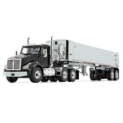 First Gear 1/50 Scale Diecast Collectible Black/Chrome Kenworth T880 with East Genesis End Dump Trailer (50-3452)