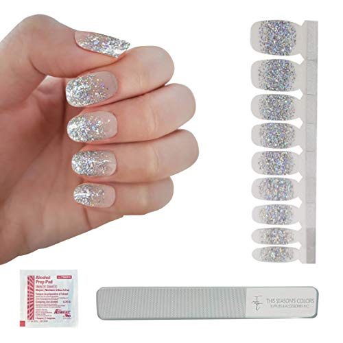 Holographic Silver Glitter French Tips Nail Polish Strips w/Reusable Glass Crystal File | This Season's Colors | Convenient Salon Quality Manicures & Pedicures for Women, Teens and Kids