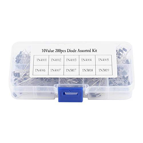Rectifier Diode Kit,Acogedor 200Pcs 10Values Rectifier Diode Assortment Kit with Box,1N4001, 1N4002, 1N4003, 1N4004, 1N4005,1N4006, 1N4007, 1N5817, 1N5818, 1N5819