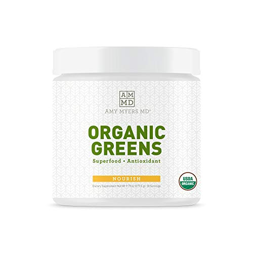 Organic Greens Superfood Juice Powder from The Myers Way Protocol - Contains 14 Powerful USDA Certified Organic Plant Foods - Dietary Supplement, 270 Grams 30 Servings - from Dr. Amy Myers