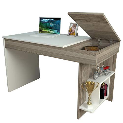 Homidea Hidden Schreibtisch - Weiß/Avola - Computertisch mit Regal in modernem Design