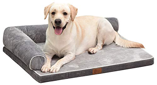 AcornPets® B-1222 Deluxe Large Grey Memory Foam Orthopaedic Dog Sofa Mattress Bed Fleece 90 x 75 CM For Large Dogs, High Elasticity Slow Rebound Solid 5CM Memory Foam, Detachable and Washable