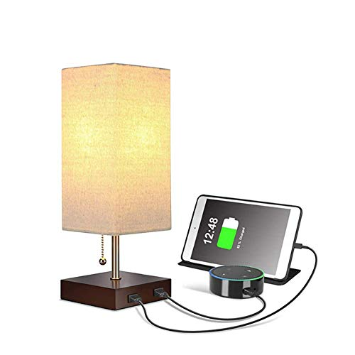 Wooden Lámpara de Mesa USB, Moderna Lámpara de Escritorio de Noche con Luz Suave, Luz Ambiental de Madera con USB Funcional Dormitorio Sala de Estar y Oficina