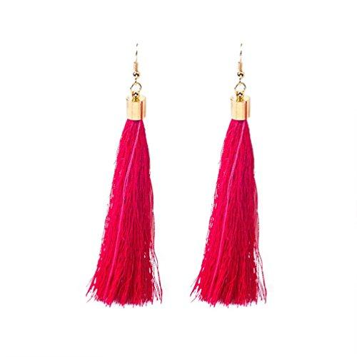 Pendientes Borla Mujer Pendientes Mujer Largos, FAMILIZO Estilo vintage Rhinestones Crystal Tassel Dangle Stud Pendientes de joyería de moda (Rosa caliente)