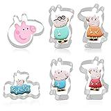 FHzytg Juego de 6 moldes para galletas con diseño de Peppa Pig y Peppa Pig para niños
