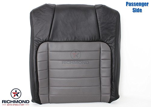 Richmond Auto Upholstery - Passenger Side Lean Back (Seat Top) Replacement Leather Seat Cover, Black & Gray (Compatible with 2002 Ford F-150 F150 Harley Davidson Edition Supercharged)