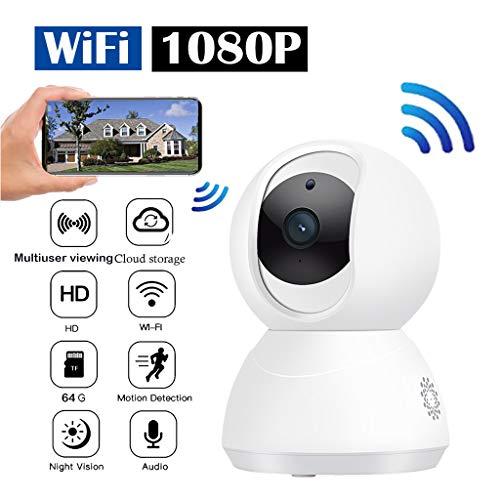 WLAN Kamera IP Überwachungskamera 1080P mit Nachtsicht,Auto Tracking PTZ AI IP-Kamera WiFi Cloud-Speicher CCTV Home Surveillance Zwei-Wege-Audio-Bewegungsalarm (WHITE)