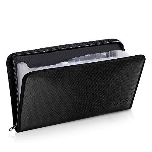 "Expanding File Folder Document Organizer Fireproof Money Bag A5 Size 13 Pockets Zipper Closure Portable Filing Wallet Holder Storage for Check,Bill,Receipts,Tickets(11.4"" x 6.3"")"