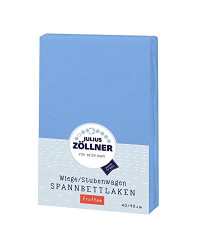Julius Zöllner 8310013300 - Spannbetttuch Frottee für die Wiege, Größe: 90 x 40 cm, Farbe: blau