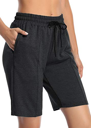 NEWMEEN Volleyball Shorts,Women Plus Size Comfortable Workout Bermuda Short with Pockets Ladies Elastic Waistband Fashionable Knit Exercise RunningOutfits Dark Grey 2XL