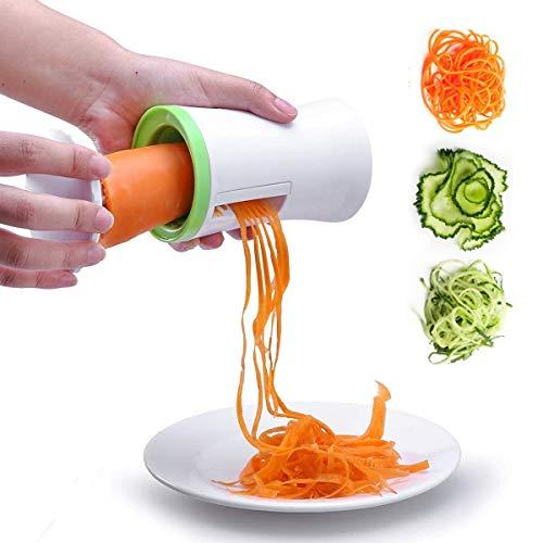 Mengger Spiralizzatore Verdure,Affettaverdure, Affettatrice Affettatore a Spirale Tagliaverdure Spiralizer Cutter 3 Lame per Grattugia Cetriolo Zucchine Spaghetti di Patate Spiralizzatore
