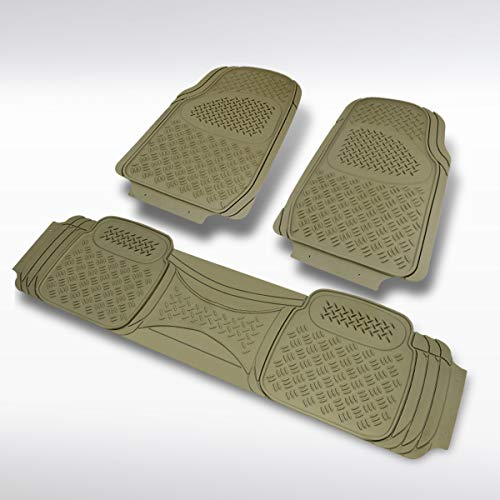 Autozensation 3PC Heavy Duty PVC Beige Rubber 3D Floor Mat Front Rear Truck Trim Semi-Custom