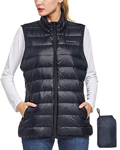Baleaf Women's Lightweight Packable Down Vest Puffer Sleeveless Jacket Thermal High Neck Coat Dark Blue S
