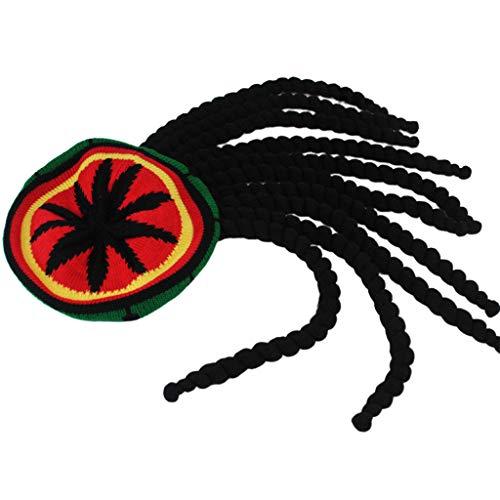 6Wcveuebuc Hombres Mujeres Novedad Rastas Peluca Sombrero Reggae Estilo Jamaicano Ganchillo Gorros de Punto Largo Negro Pelo Boina de Halloween Cap