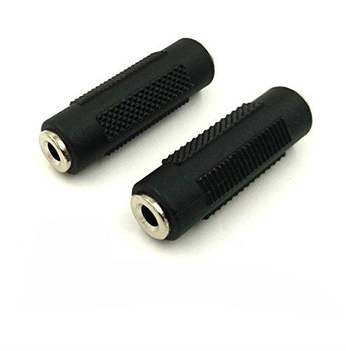 Maxhood 3.5mm 1/20,3cm accoppiatore (2-pack) 3.5mm 1/20,3cm (mini) 3.5mm femmina a femmina, adattatore audio stereo accoppiatore adattatore per cuffie stereo audio accoppiatore (FM/FM)