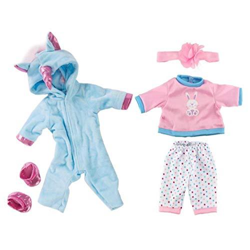 TOPofly Ropa de la muñeca 18inch, muñecas del bebé del Mono de Sets con los Zapatos, de 17 Pulgadas de Vestuario Caballo de la Historieta de los niños Pijama Accesorios de los Juguetes de Las