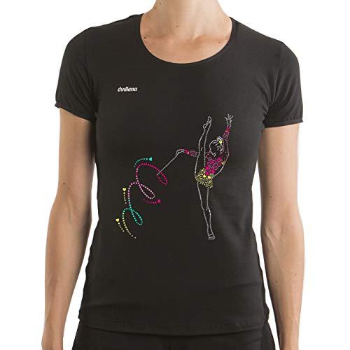 dvillena   Camiseta Manga Corta Gimnasia Ritmica Cinta Espiral Mujer Corte Moderno   Actividades Deportivas o Tiempo Libre, Yoga, Pilates   Camiseta para Entrenar Niñas, Adolescentes o Adultos