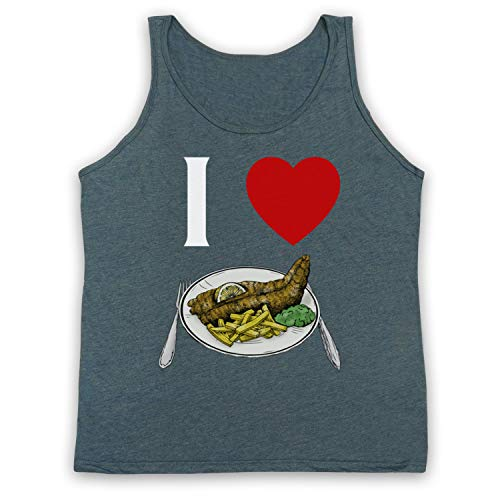 My Icon Art & Clothing I Love Fish and Chips Iconic British Dinner Tank-Top Weste, Jahrgang Schiefer, XL