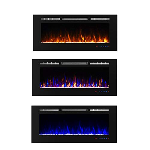 "Flameline 50"" Dannis Recessed Electric Fireplace Insert with Touch Contrl Panel, Log Speaker and 3 Flame Color with Remote, 750/1500W Heater, Black"
