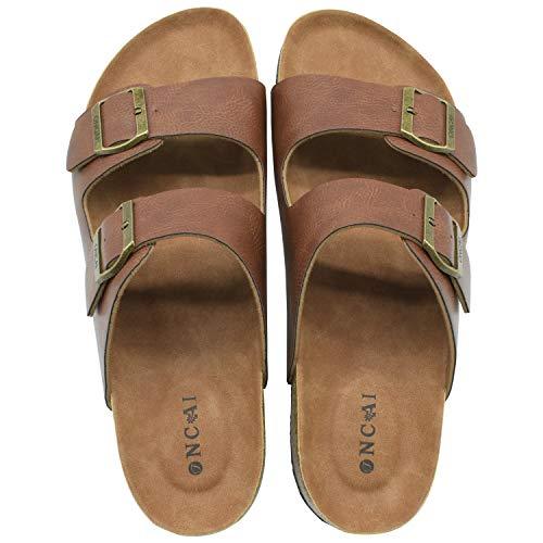 ONCAI Men's-Slide-Sandals-Beach-Slippers-Arizona Slippers Shoes Indoor Anti-skidding Flat Cork Sandals and Outdoor Beach Slippers with Two Adjustable Straps Khaki Size 11