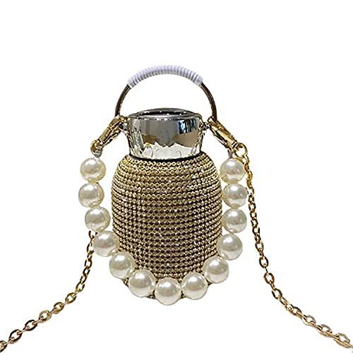 Nueva botella de agua termo de diamantes con pulsera de perlas, taza termo de diamantes de imitación Frasco de vacío de diamantes Botella aislada de alta gama brillante brillante (Oro)