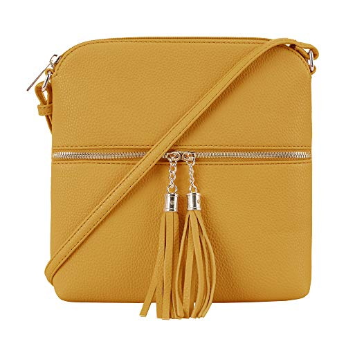 DELUXITY Women's Fashion Trendsetter Long Lightweight Crossbody Shoulder Bag with Tassels -MD