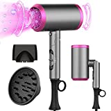 Ionic Hair Dryer, 1800W Professional Blow Dryer with Negative Ion Technology, Fast Drying Blow Dryer, 3 Heating/2 Speed/Cold Settings, Nozzles and Diffuser, Hair Blow Dryer for Black Friday Travel