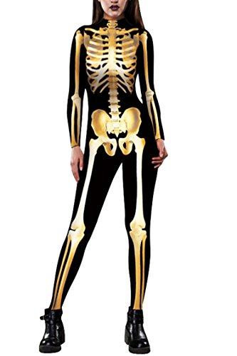 Fixmatti Womens Skeleton Jumpsuit One Piece Tight Halloween Costume Sets Gold XL