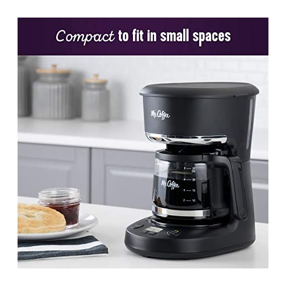 Mr. Coffee 5 Cup Programmable 25 oz. Mini, Brew Now or Later, with Water Filtration and Nylon Reusable Filter, Coffee… 3 Compact design that fits nicely into small spaces Brew later feature allows you to set your coffeemaker ahead and wake up to fresh brewed coffee Ergonomic carafe designed for easy pouring and handling with ounces markings for better measuring