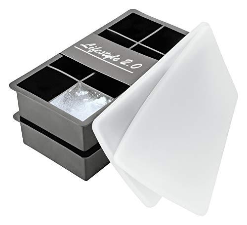 Confezione da 2 stampi per cubetti di ghiaccio XXL in silicone con coperchio per un totale di 16cubetti (2x 8) da 5cm, da -40fino a + 260°C, senza BPA, Lifestyle 2.0
