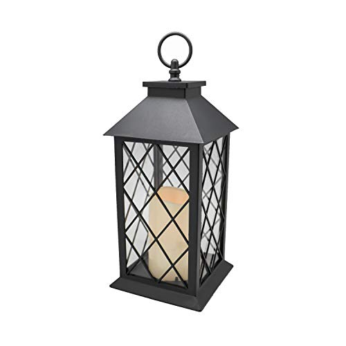 YAKii 13' Decorative Candle Lantern with LED Flameless Candle and Timer, Plastic LED Candle & Holder, Indoor & Outdoor Hanging Lights Thanksgiving &Christmas Day Decorations (Black)