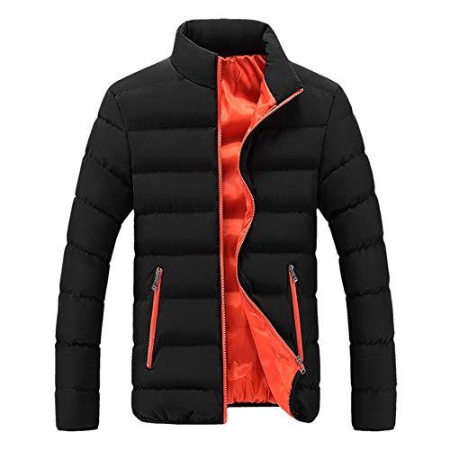 Men's Winter Warm Jacket Thicken Outerwear Solid Lightweight Water Resistant Coat (Orange, L)