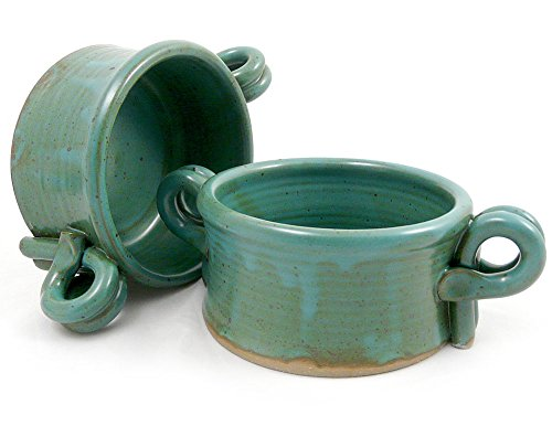 American Made Stoneware Bistro Bowl for Soup, Chili, Rice, or Pasta; Set of 2, 16-oz (Teal Green)